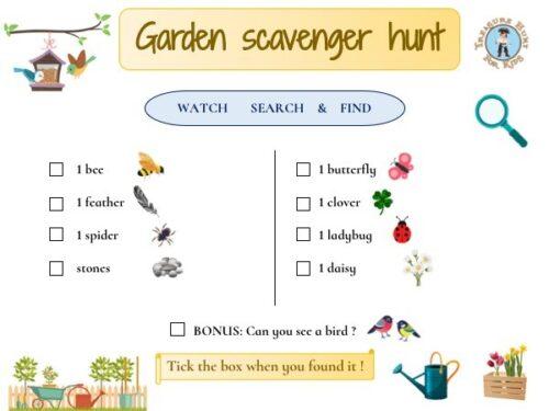Printable garden scavenger hunt for kids for free