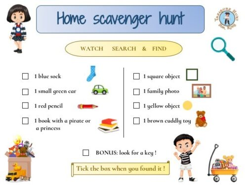Printable Home scavenger hunt for kids game