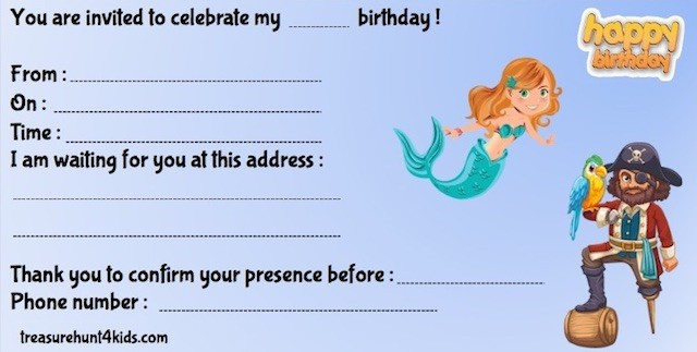 Pirates & mermaids birthday party invitations to print