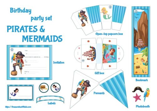 Pirates & mermaids birthday party printables for unique decoration