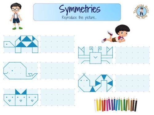 Symmetry worksheet to print for kids to learn geometry