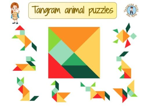Tangram animal puzzles for kids to print