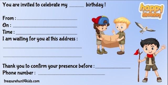 Printable birthday party invitation for kids