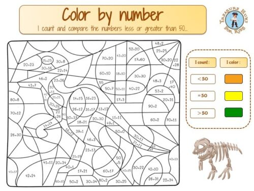 Comparing numbers color by number math worksheet