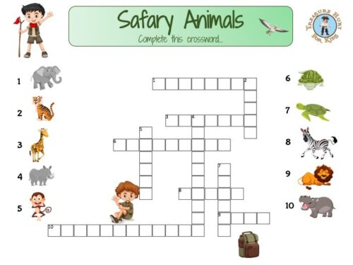 Crossword safary animals to print for your kids