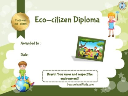 Eco-citizen certificate for kids game about ecology