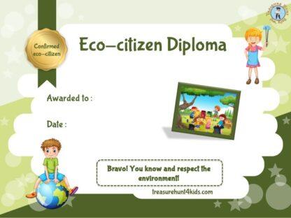 Printable eco-citizen diploma for kids