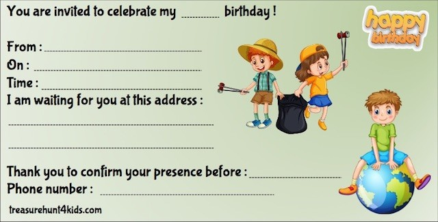 Ecology birthday party invitation for kids to print