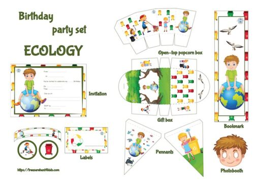 Ecology birthday party printables to decorate easily your big event.