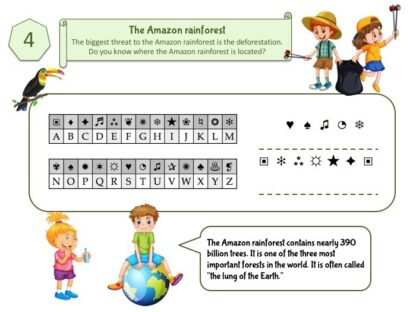 Riddle for ecology game for kids about amazon rainforest