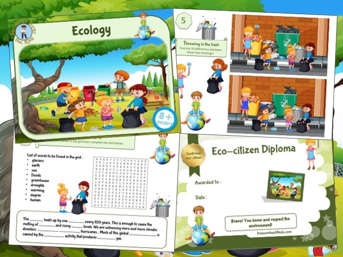 Printable game for kids to learn about ecology with fun