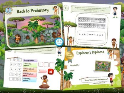 Prehistory printable adventure game for kids