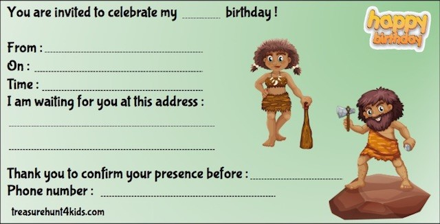 Printable birthday party invitation for kids, Prehistory-themed