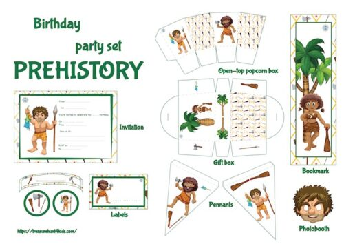 Prehistory birthday party printables to decorate easily your big event.