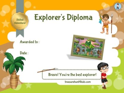 Explorer's diploma according to our prehistoric mystery game