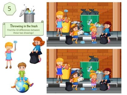 Environmental education game: spot the difference