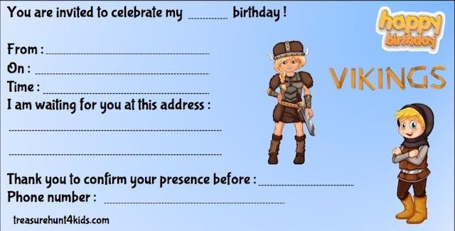 Viking birthday party invitation