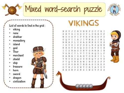 Viking mixed word-search puzzle for kids to print
