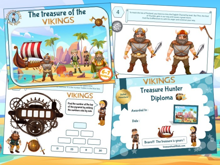 Viking treasure hunt party game to print for kids aged 6-7 years