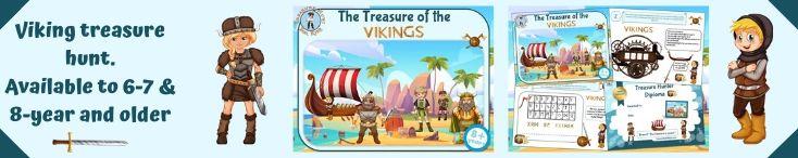 Viking treasure hunt game to print: educational game