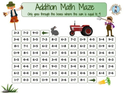 Addition math maze worksheet to print