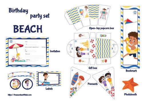 Beach birthday party printables for kids