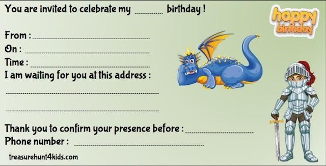 Knight and dragon birthday party invitation