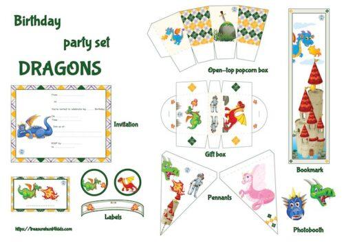 Dragon birthday party printables for kids