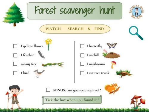 Forest scavenger hunt to print for kids