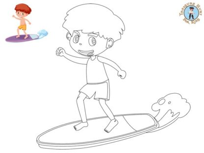 Kid surfing coloring page
