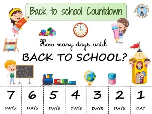 Back to school countdown to print for free