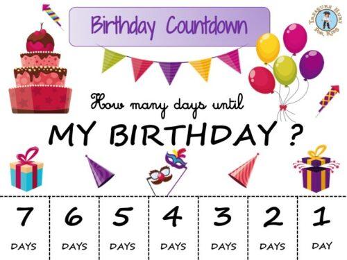 Printable birthday countdown calendar