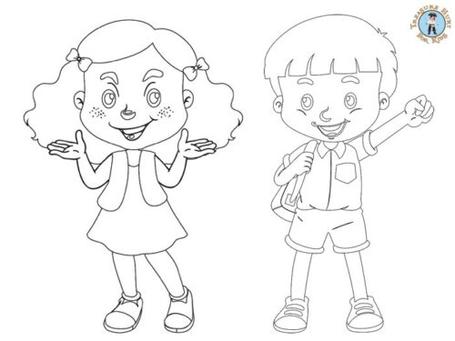 Kids at the circus coloring page
