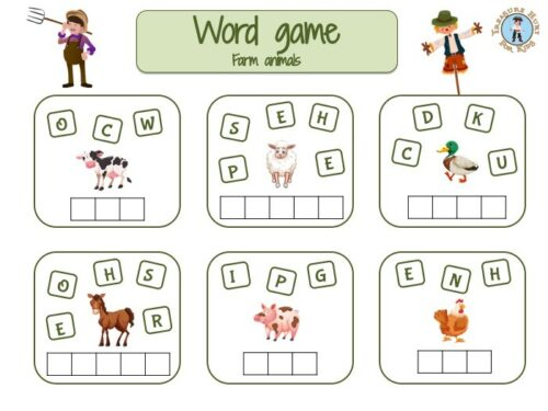 farm animals word game for kids