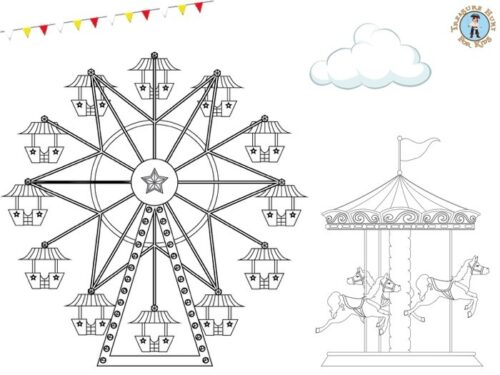 merry-go-round coloring page