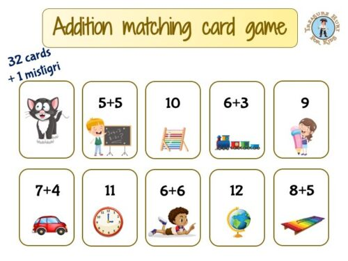 Addition matching card game to print