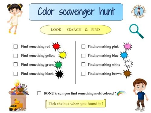 Printable color scavenger hunt for kids for free