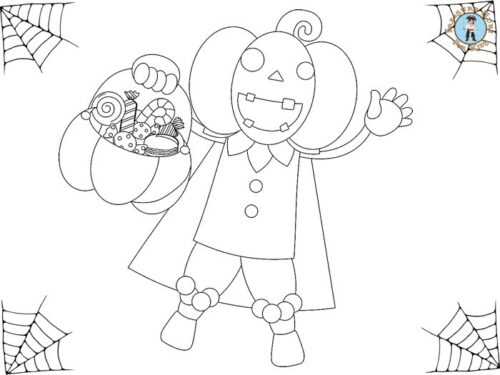 Halloween treats coloring page