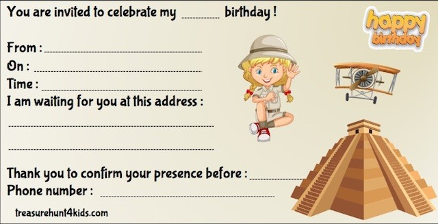 Inca birthday party invitation for kids to print for free