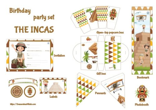 Inca birthday party printables for kids