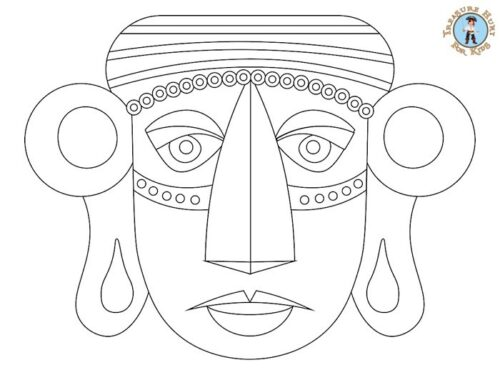 inca mask coloring page for kids