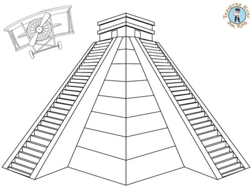 Inca temple coloring page for kids