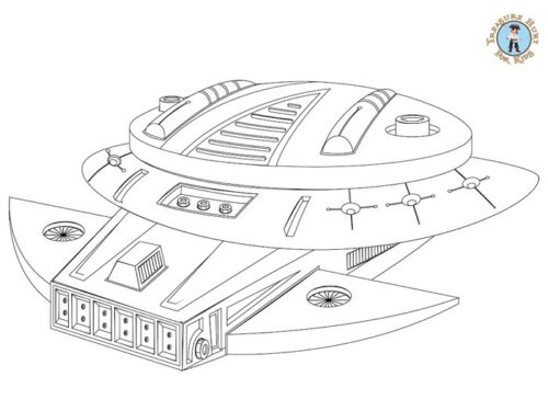 Spaceship coloring page for kids