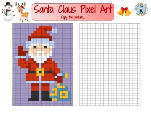 Christmas Pixel Art: draw Santa Claus