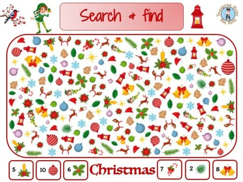 Christmas search and find to print for kids activity