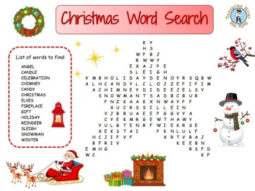 Christmas word search for kids to print