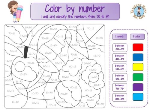 Color by addition : color by number math worksheet