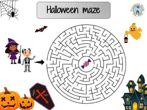 Halloween maze game for kids to print for free