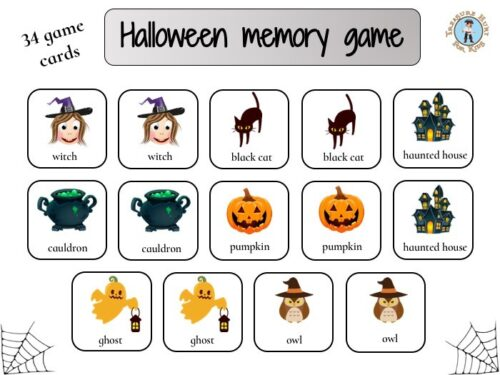 Halloween memory matching game for kids to print