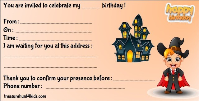 Halloween party invitation for kids to print for free